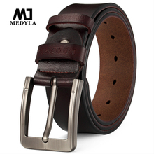MEDYLA Mens Genuine Leather Belt Fashion New Quality Alloy Buckle Business Casual Brand Belts For Gift Dropship