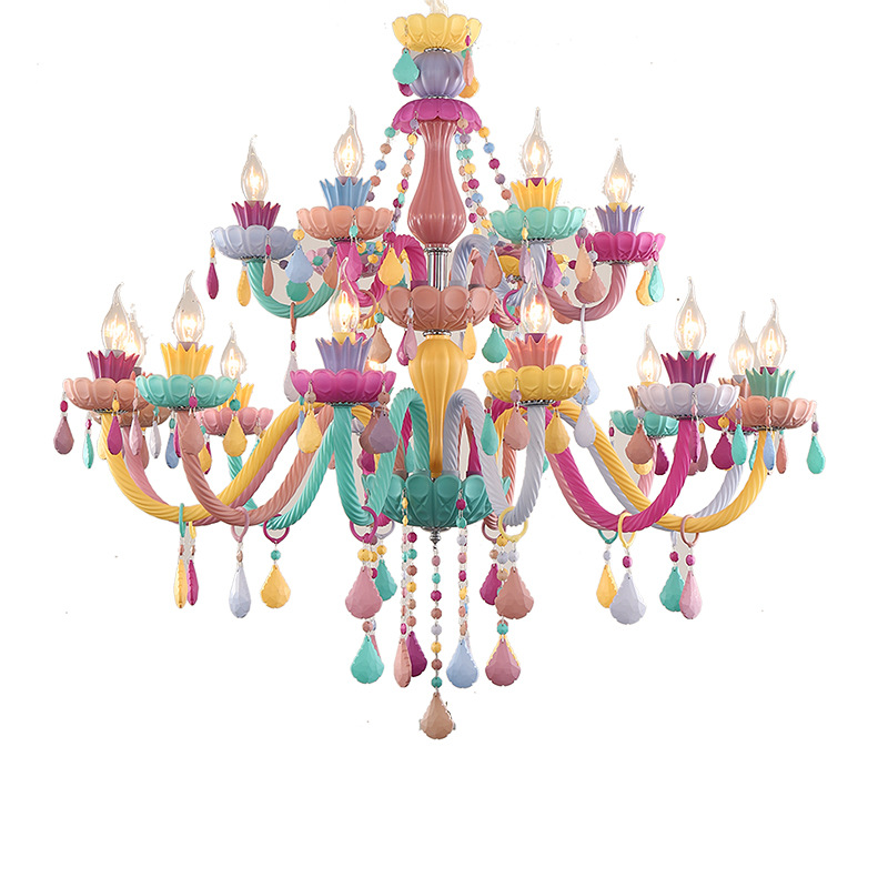 Macaron chandelier Children's room crystal Light use for Bedroom living room dining room LED E14 AC110V 220V Indoor Lighting