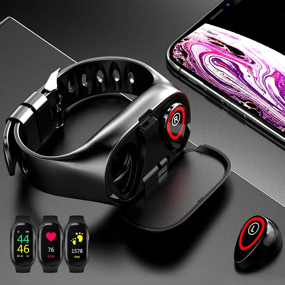 LEMFO Smart Watch Bracelet with Bluetooth Earphone Fitness Tracker Blood Pressure Heart Rate Monitor Wireless Headphone