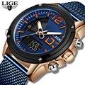 Relogio Masculino  LIGE  новые часы для мужчин  s  Лидирующий бренд  роскошные модные мужские часы  аналоговые  кварцевые  двойной дисплей  водонепрониц...
