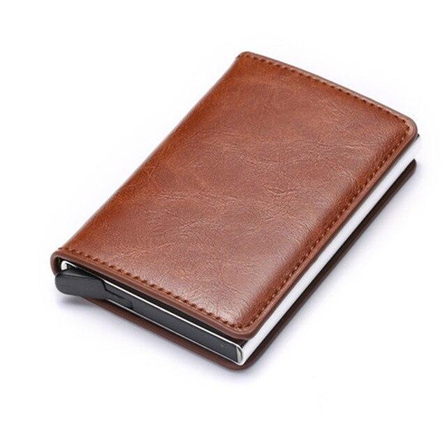 BISI GORO 2020 Fashion Credit Card Holder Carbon Fiber Card Holder Aluminum Slim Short Card Holder RFID Blocking Card Wallet