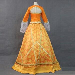 Image 4 - Top Quality 2019 Movie Aladdin Jasmine Princess Orange Dress Women Girl Halloween Party Cosplay Costume Arabian Royal Gown Dress