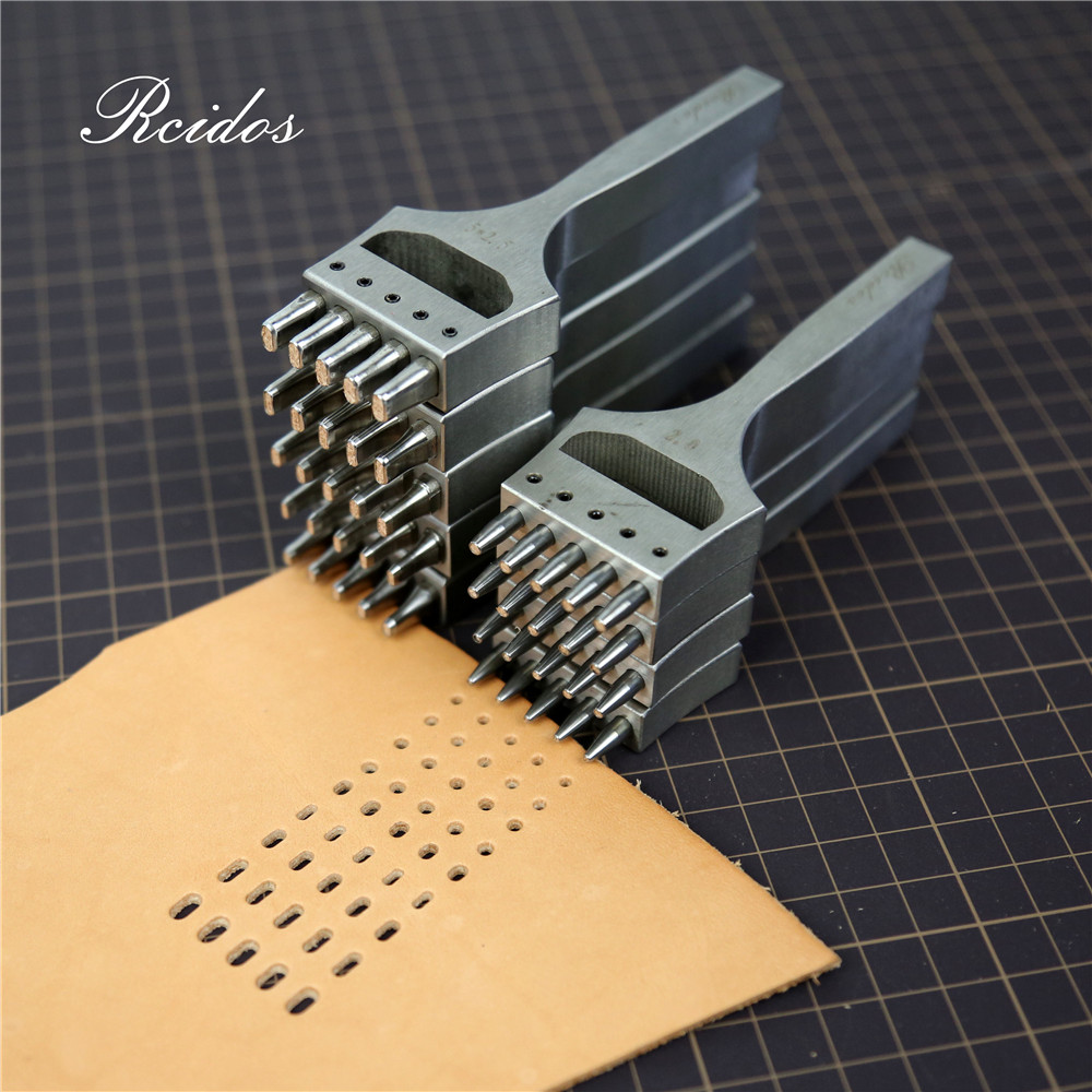 RCIDOS Watch Belt Flat Hole Puncher,Watchband Round 5hole Cutter,Hole Center Distance 6.5mm,3x2/3.5x1.5/4x2/5x2/5x2.5mm