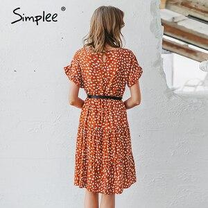 Image 5 - Simplee Sexy Polka Dot Vrouwen Jurk Causale O hals Losse Luipaard Print Zomer Jurk Casual Korte Mouw Ruffle Vakantie Strand Jurk