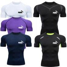 T-shirt de compression pour hommes à séchage rapide costume de football fitness vêtements de sport serrés sport de sport à manches courtes chemise respirante