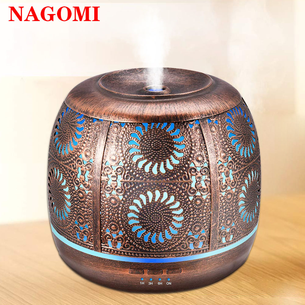 Air Humidifier 500ml Bronze Metal Mist Maker Aromatherapy Essential Oil Diffuser 7 Color Light Change For Home Bedroom Office
