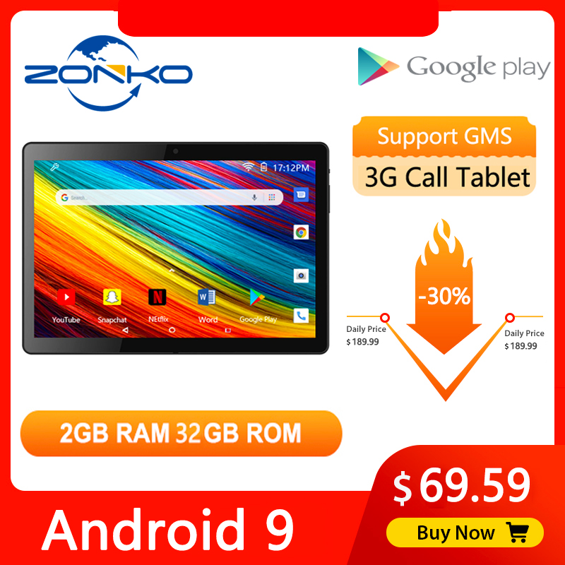 ZONKO 10'' Tablet Android 9.0 Phone Call Tablet PC 3G Network Tablets WiFi Quad Core 2GB RAM 32GB ROM 1280*800 IPS Kids Tablet