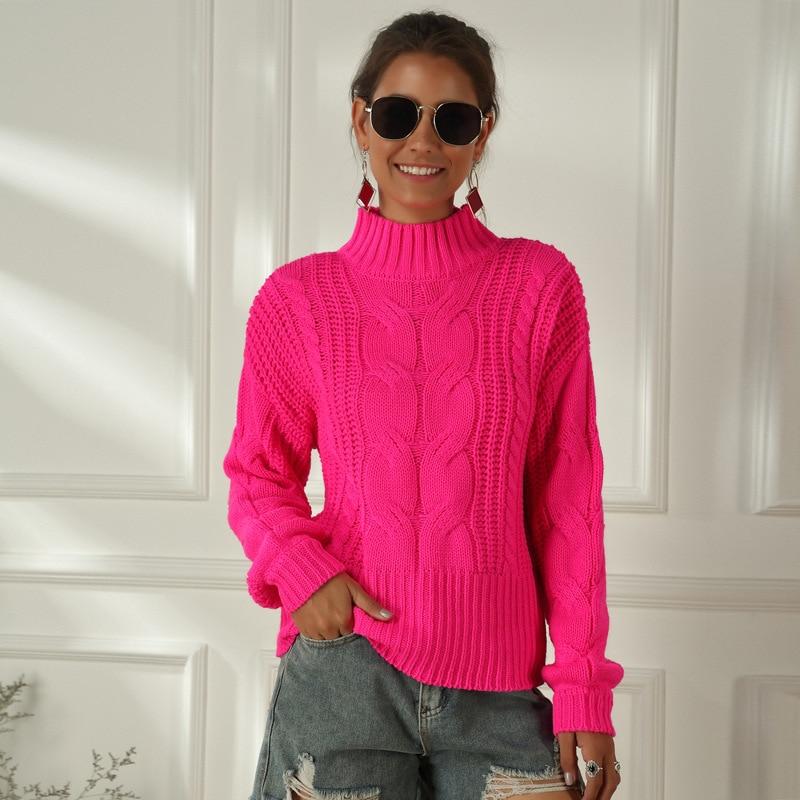 Loose Long Sleeve Ladies Knit Sweater Pink Half Turtleneck Women Pullover Sweater Fashion Pink Loose Lady Turtleneck Sweater