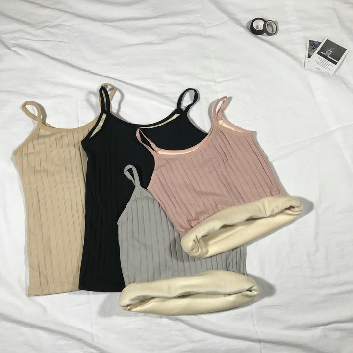 Ladies thin strap vest T shirt sleeveless  warm thermal brushed cotton white