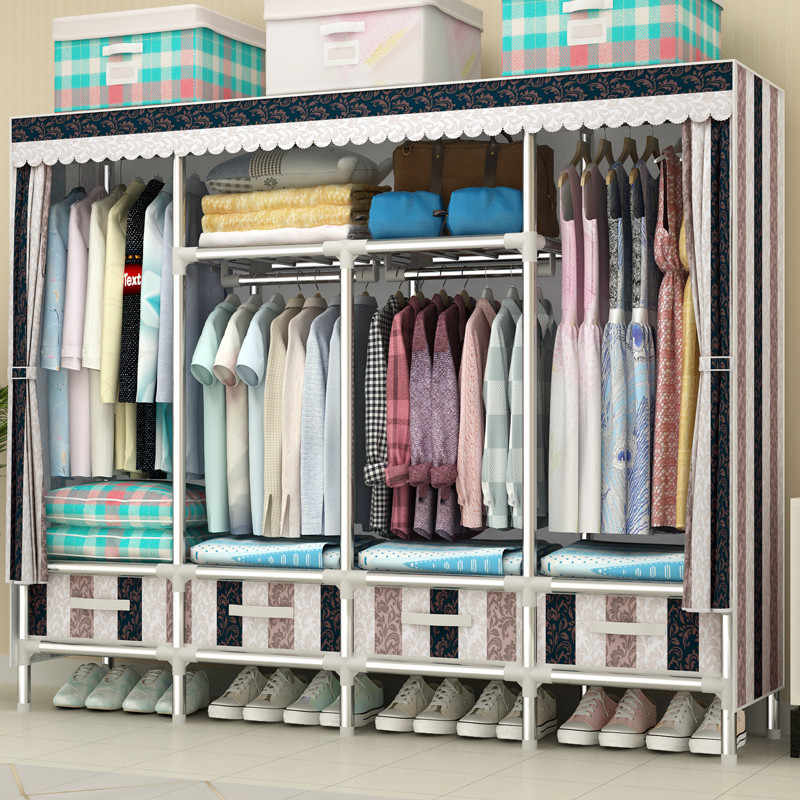 Simple Cloth Wardrobe Home Thick Wardrobe Storage//Wardrobe Steel Pipe Portable Wardrobe All Steel Frame Hanging Wardrobe Portable Closet