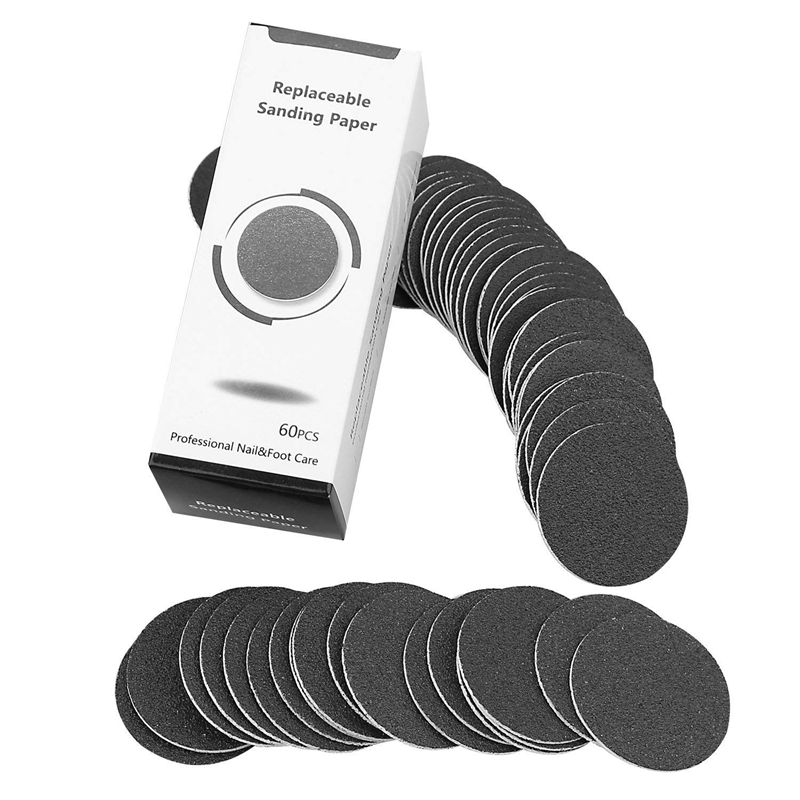 60 Pcs Replacement Sandpaper Discs Pads For Electric Foot File Callus Remover Pedicure Tool