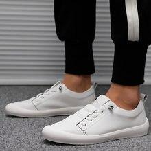 Baskets en cuir véritable pour hommes, chaussures blanches de marque à la mode, KA1697