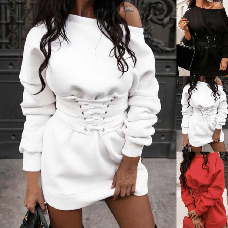 Kleid Weibliche Sexy frauen Solide Oansatz Langarm Fleece Dicken Kleid Und Bund Gürtel Verband Kleid Winter Streetwear Vestido