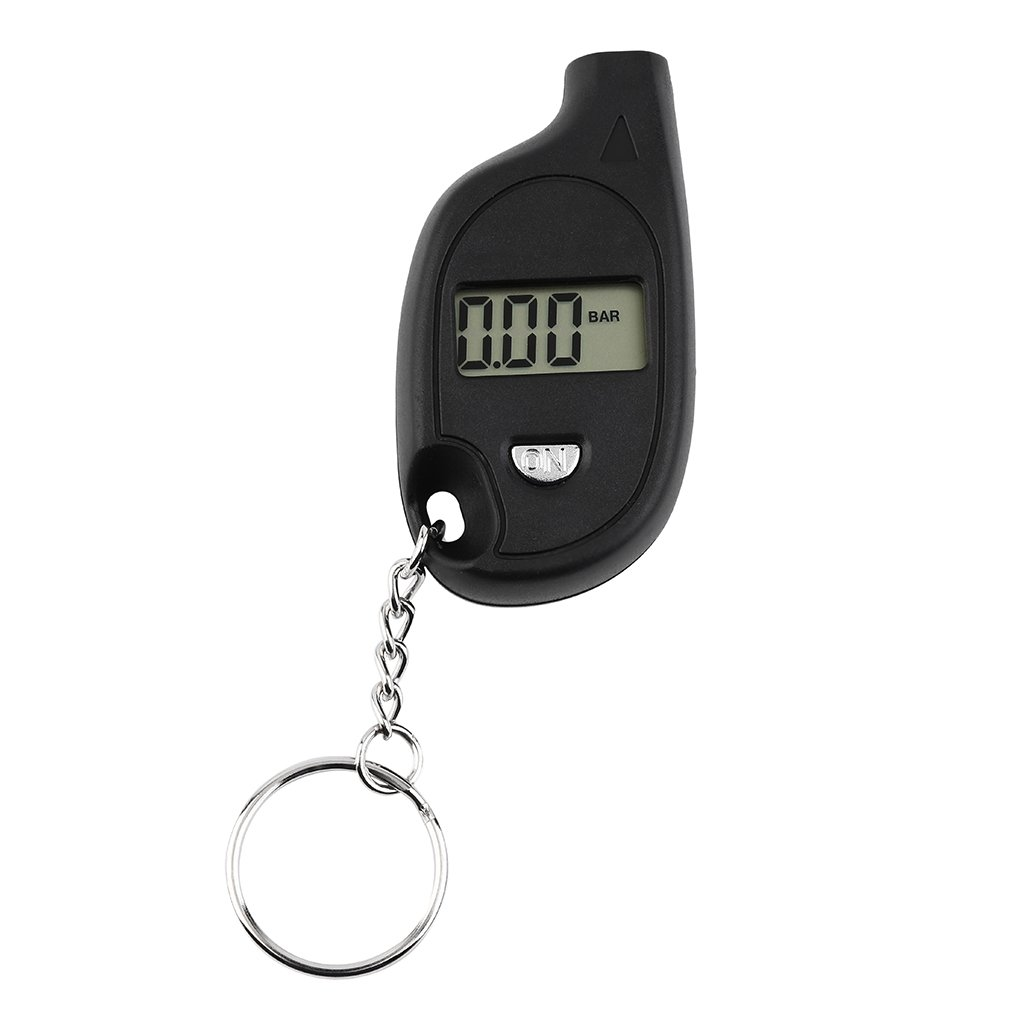 1pc Mini Portable Keychain LCD Digital Car Tire Tyre Air Pressure Gauge Auto Motorcycle Test Tool(with Cell Lithium Battery)