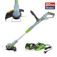 WORKPRO-cortacésped eléctrico de 20V, cortador de césped inalámbrico, cuerda de liberación automática, herramientas para podar el jardín con 20 cuchillas de repuesto