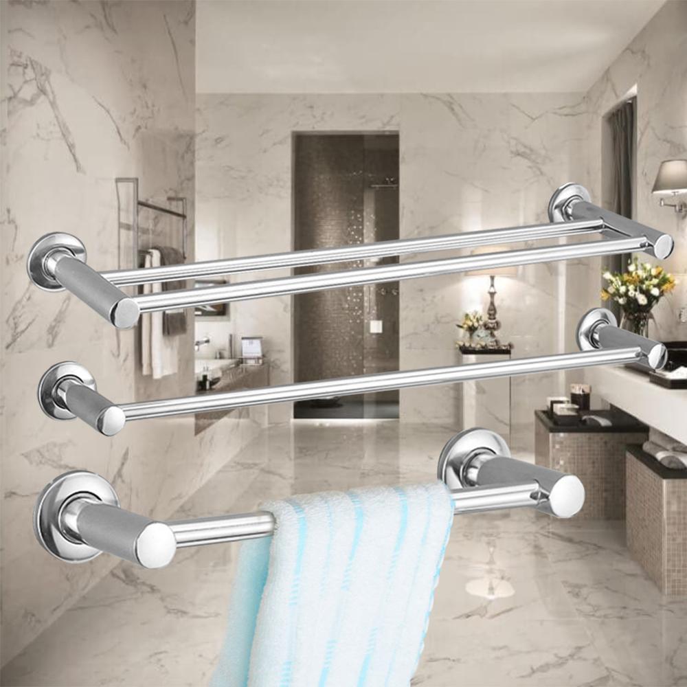 Anti-rust Stainless Steel Towel Shelf Wall-Mounted Bathroom Holder Adhesive Force Bathroom Shelf Single/Double Bars Towel Rack