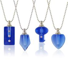 2PCS Blue Crystal Vials Cremation Jewelry Urn Necklace for Ashes Crystal Urn Necklace Urn Jewelry