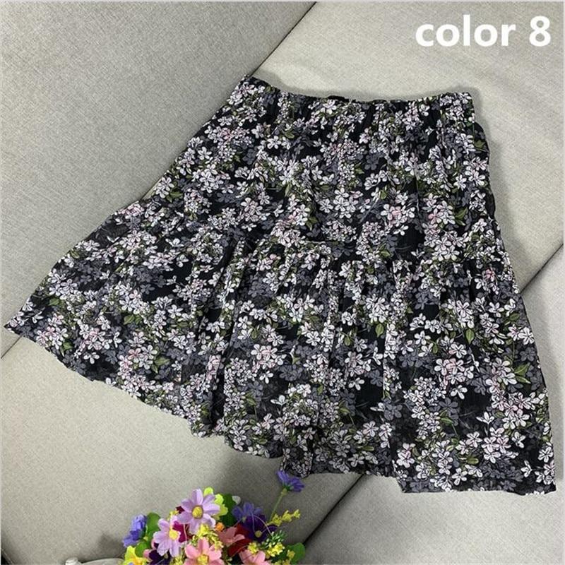 Women Mini Skirts 2020 Foral Printed Skirts Sweet Girls A-line Cotton Ruffles Pleated Beach Holidays Skirts Plus Size M-6XL 7XL