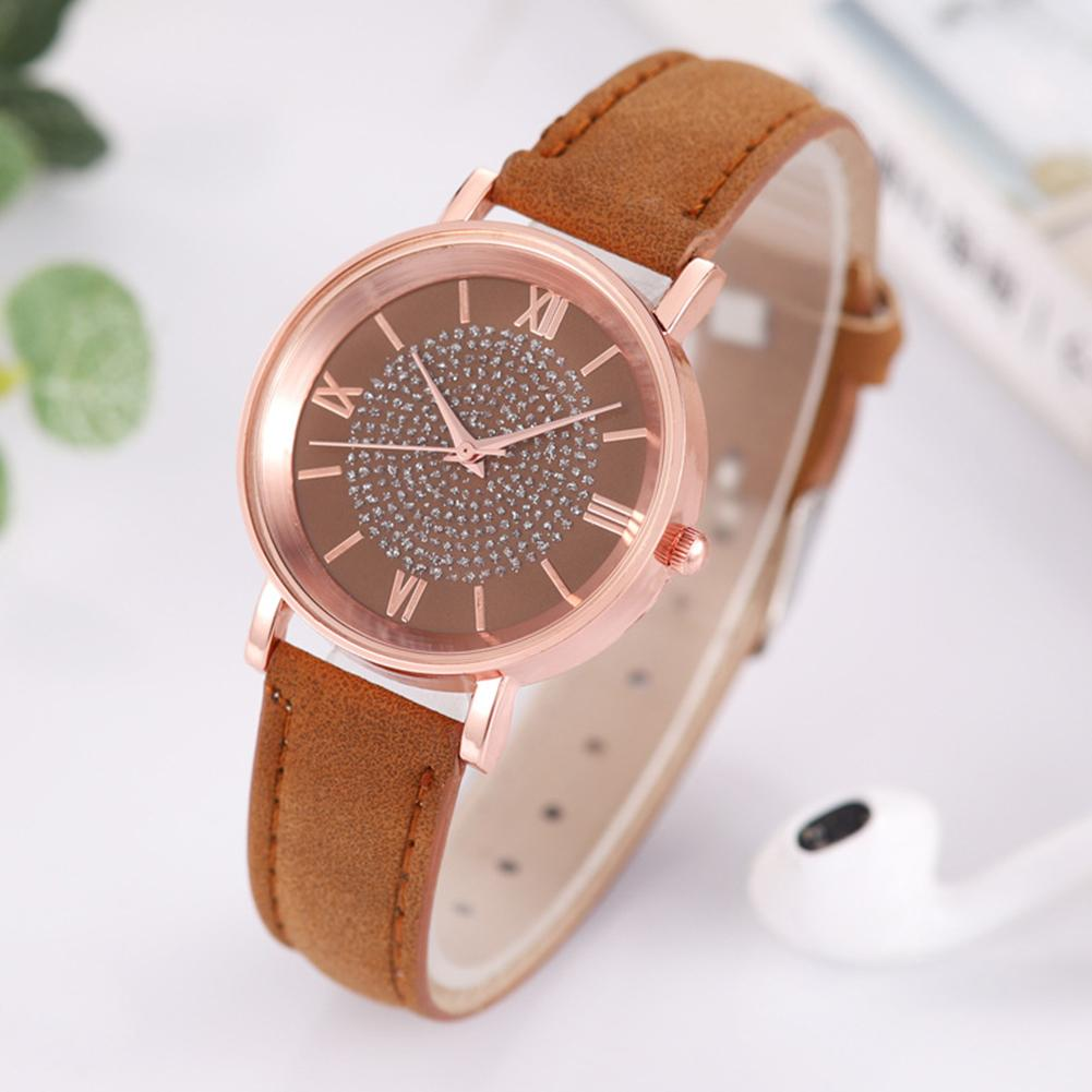 Women Fashion Rhinestones Inlaid Round Dial Analog Display Quartz Wrist Watch