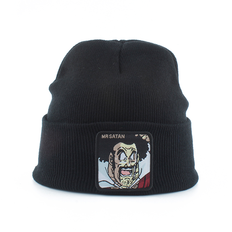 Men Womens   Beanie   Hat Anime MR SATAN Embroidery Hip Hop Cap   Skullies   Autumn Winter Knitted Hats For Ladies