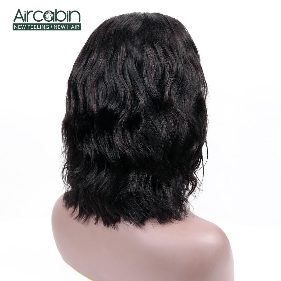 Aircabin 4x4 Lace Closure Body Wave Wigs Brazilian Human Hair For Black Women Short Bob Wigs Medium Brown Swiss Lace Closure