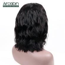 цена на Aircabin 4x4 lace Closure Body Wave Wigs Brazilian Human Hair For Black Women Short Bob Wigs Medium Brown Swiss Lace Closure