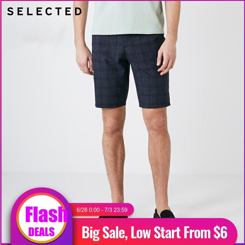 SELECTED Men's Straight Fit Plaid Knee-high Casual Shorts S|4192SH523