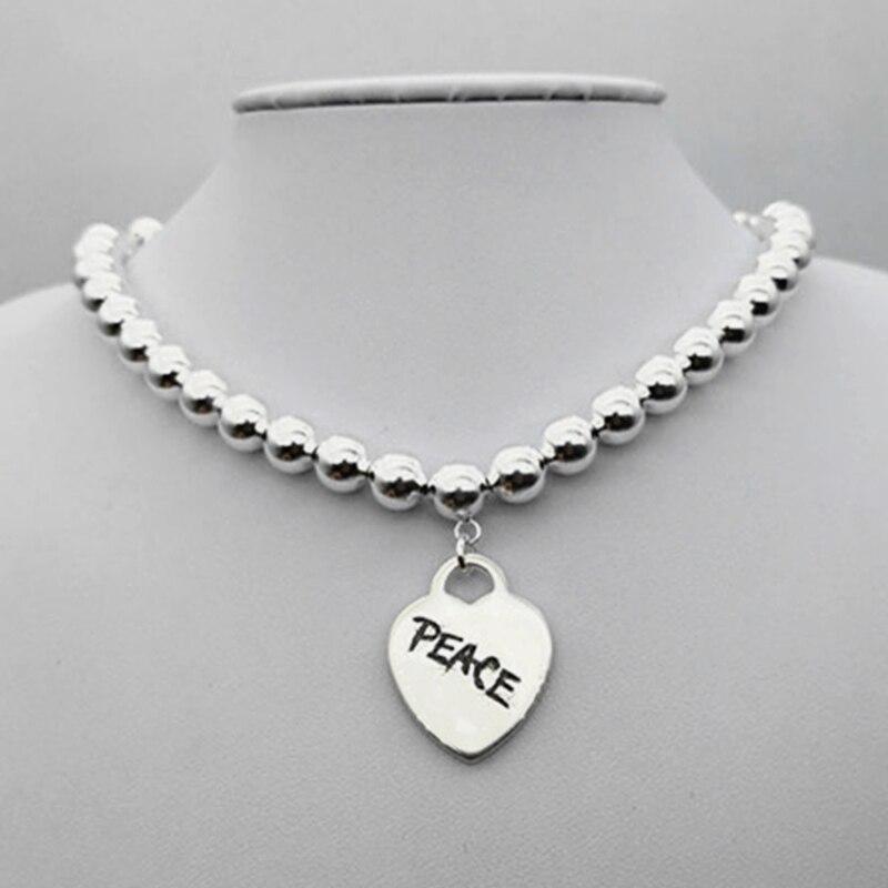 SHINETUNG Original 100% S925 en argent Sterling perlé en forme de coeur lettre paix pendentif collier à la mode femmes Logo bijoux haut de gamme
