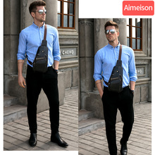 цена на Aimeison Men Genuine Leather Cowhide Vintage Sling Chest Back Day Pack Travel Fashion Cross Body Messenger Shoulder Bag