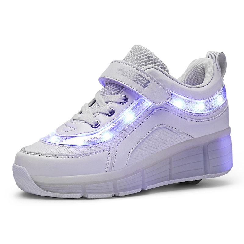 Black Pink White USB Charging Fashion Girls Boys LED Light Roller Skate Shoes For Children Kids Sneakers With Wheels One Wheels