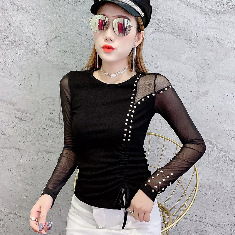 Fashion Korean Sexy Rivet Patchwork Mesh Tshirt 2019 New Autumn Winter Women Long Sleeve Lace Up Back Top Camiseta Mujer T98303