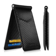 NewBring Clip para dinero con apariencia de fibra de carbono, negro, bloqueo RFID, licencia de conducir, ID, efectivo
