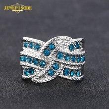 Женское кольцо из серебра 925 пробы с сапфировым камнем