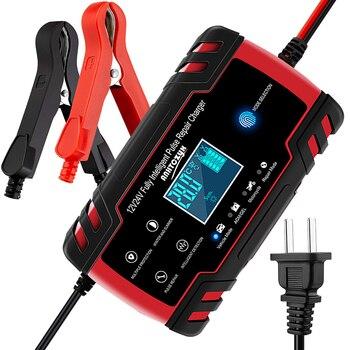Cargador de batería automático para coche a 12V 24V 8, carga rápida y rápida, pantalla LCD Digital AGM de ácido de plomo seco mojado