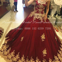 Burgundy Tulle Quinceanera Dresses With Gold Appliques 2020 Burgundy Tulle Puffy A Line Long Sweet 16 Dress Vestidos De 15 Anos