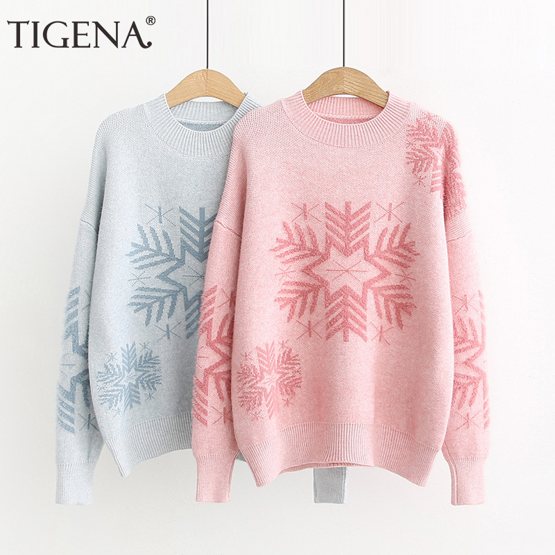 TIGENA 2019 Fall Winter Knitted Pullover Sweater Women Christmas Snow  Jumper Korean Kawaii Cute Loose Sweater Female Blue Pink