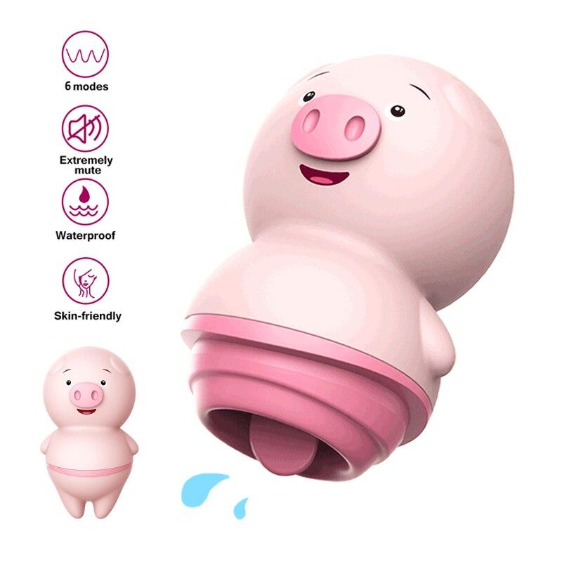 Sweet Dream Licking Tongue Vibrator Qute Pig Multi-Speed Vibrating Nipple Clitoral Stimulator Sucker Sex Toys For Women DW-628