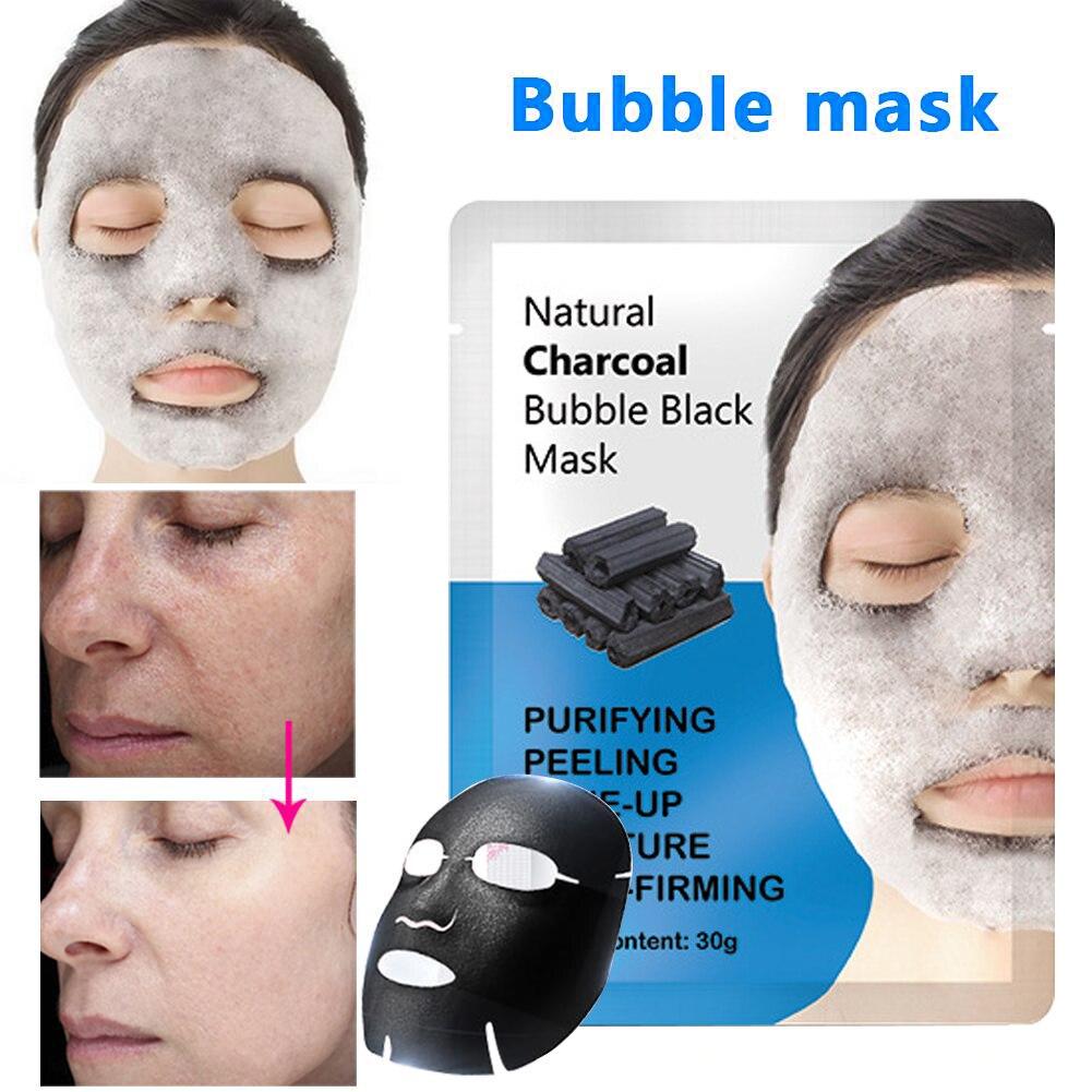 1Pcs Natural Detox Oxygen Charcoal Bubble Black Sheet Mask Oil Control Face Mask Blackhead Removal Facial Mask Skin Care TSLM2