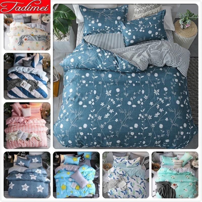 New Fashion 3/4 Pcs Bedding Set Adult Kids Soft Cotton Bed Linen Single Full Queen King Big Size Duvet Cover Bedspreads Bedlinen