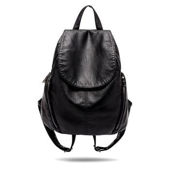 Black Leather Backpack Anti Theft Backpack School Bags for Teenage Girls Travel Backpack Large Capapcity Mochila Women Backpack