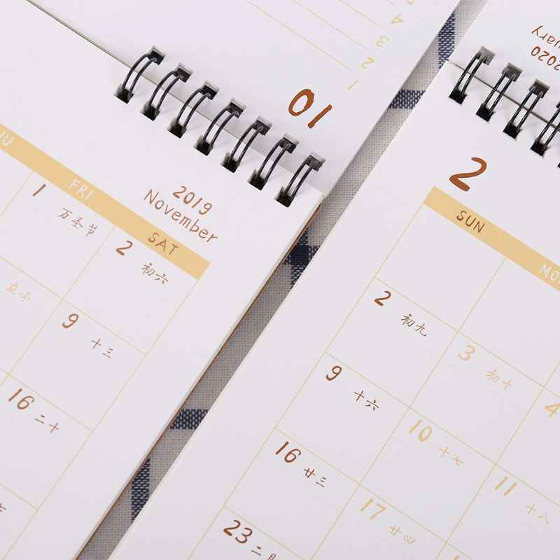 Simple 2020 Desktop Standing Double Coil Paper Calendar Memo Daily Schedule Table Planner Yearly Agenda Desk Organizer S/M/L C26