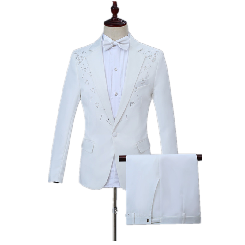 Party Wedding Focus Fashion Men's Two-edge Inlay Diamond Embellished Suit 2 Piece White Casual Boxer Collar Suit Set (coat+pant)