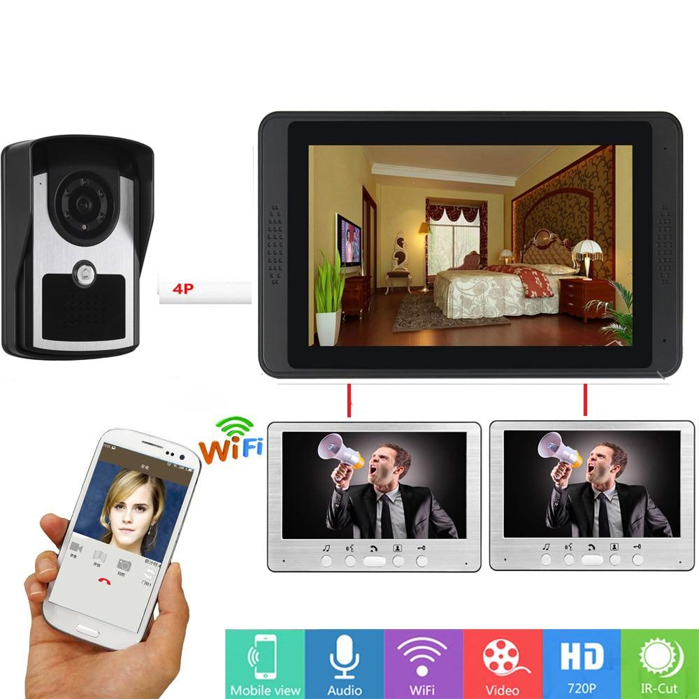 APP Remote Unlock SD Recorder Video Doorbell 7 Inch LCD Wifi Wireless Video Door Phone Doorbell Speakerphone Intercom Camera KIT