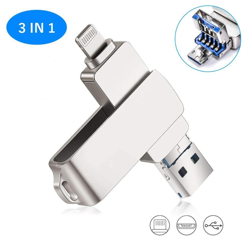 64GB Usb Flash Drive USB 3.0 For IPhone 3 In 1 USB 3.0 Lightning Micro Metal Data Storage USB Thumb Drive 3.0 Jump Drives Memory