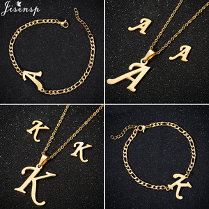 Punk Old English 26 Letter Stainless Steel Jewelry Necklaces for Women Personalize Stainless Steel Necklace Choker Birthday Gift