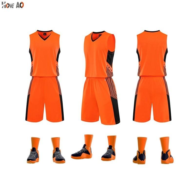 HOWE AO Men Kids Basketball Jerseys Suit Boys College Mens Basketball Uniforms Sport Kit Shirts Shorts Set