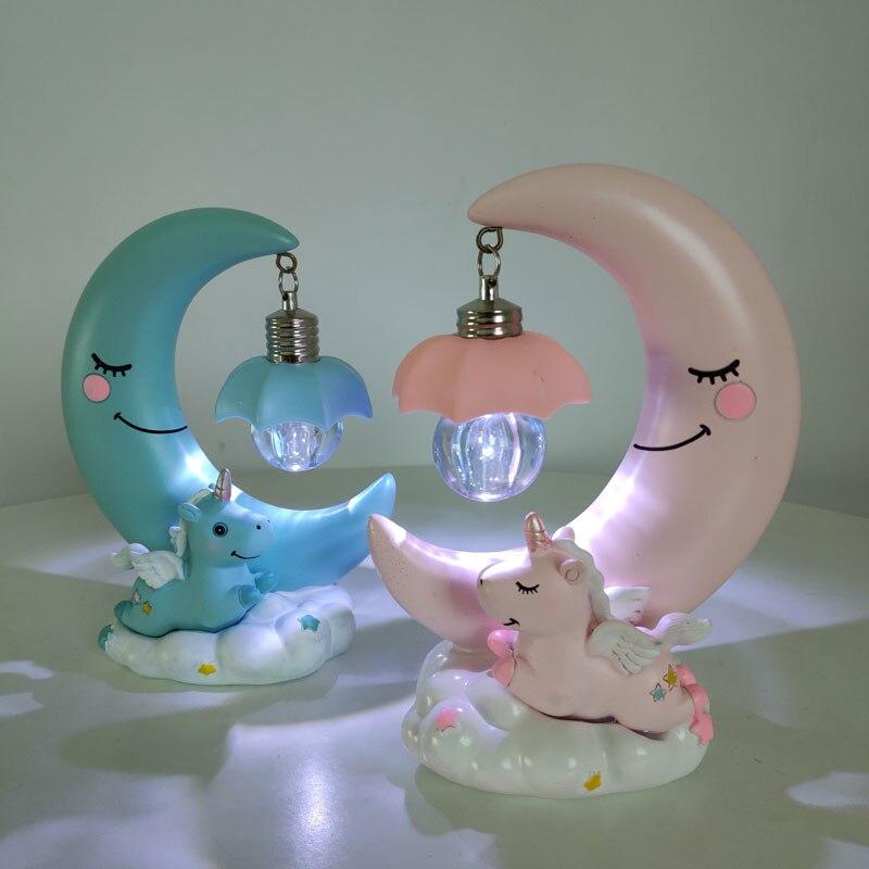 Ночник в виде единорога и Луны, светодиодный светильник в виде мультяшной смолы, ночник, лампа для романтического дома, спальни, настольная лампа для маленьких детей, подарок на день рождения, Рождество