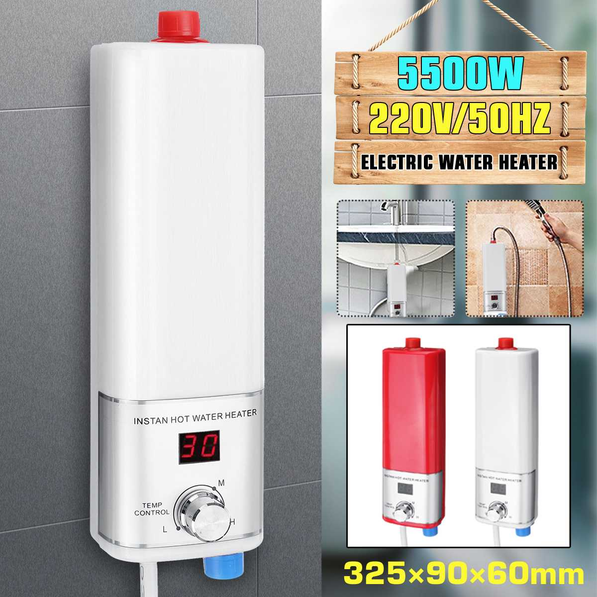5500W Electric Water Heater Mini Instant Tankless Water Heater Indoor Shower Kitchen Bathroom Water Heater Temperature Control