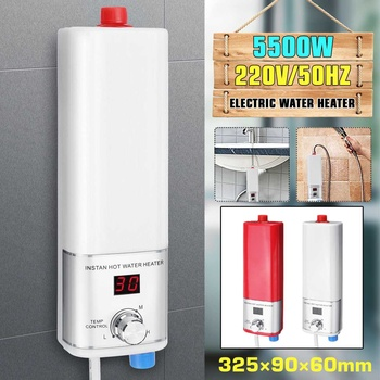 5500W calentador de agua eléctrico Mini instantánea calentador de agua sin tanque interior ducha baño cocina calentador de agua de Control de temperatura