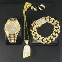 Luxury Men Watch Hip Hop Necklace Men Watch & Necklace & Bracelet &Ring & Earring Combo Jewery Set Ice Out Cuban Jewerly For Men(China)
